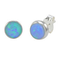 Sterling Silver Grey Green Opal Stud Earrings Gemstone 7mm Round
