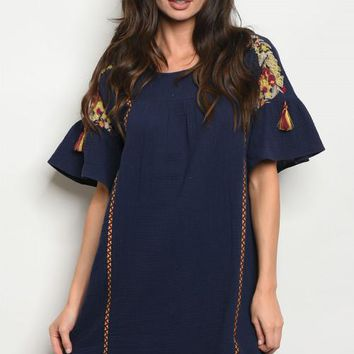 Embroidered Sleeve Tunic Dress