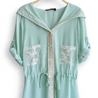 3/4 Sleeve Chiffon Hooded Lace Green Outerwear$39.00