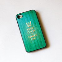 teal wood with Keep Calm Carry On iphone 5 case iphone 4s case iphone 4 case iphone cover