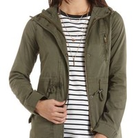 Drawstring Hooded Anorak by Charlotte Russe - Olive