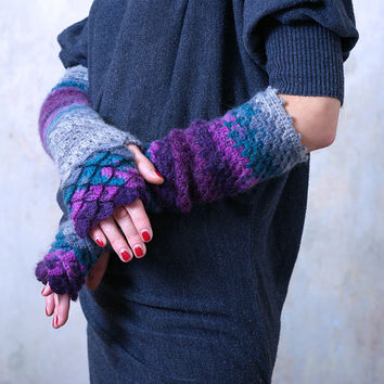 Extra long Arm warmers Fingerless Gloves Crocheted mittens - violet, burgundy, turquoise, grey.
