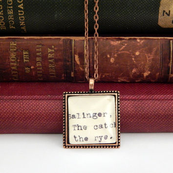 Catcher in the Rye book necklace, JD Salinger, library card catalog jewelry, Dewey Decimal, gift for book lovers, literature gift