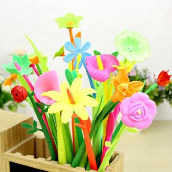 12 pieces/lot leaves Flower Ball point pens soft plastic Green plant Office Decorative write gift School Supplies Stationery