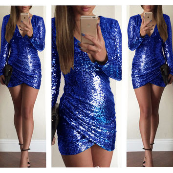 Blue  Deep V Long Sleeve Sequined Bodycon Wrap Mini Dress