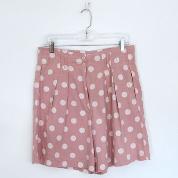 Vintage Shorts / Pale Pink Peach Polka Dots / High Waisted Pleated / Ilio 1980s 80s / Size Medium M Large L