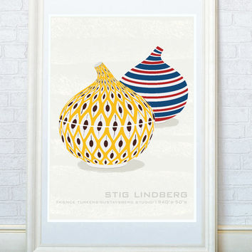 Kitchen art, Scandinavian ceramics poster print, Mid century modern art poster, Stig Lindberg design, Home decor