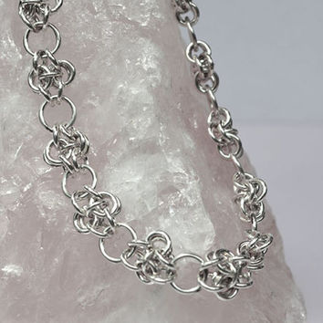 Handmade Sterling Silver Necklace Chainmaille Jewelry Fine Silver Wire Jewelry V1