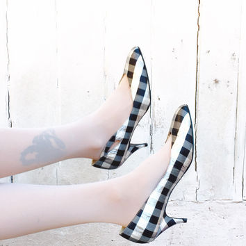Vintage Plaid High Heels Metallic 80's Gingham Black And Silver Size 10