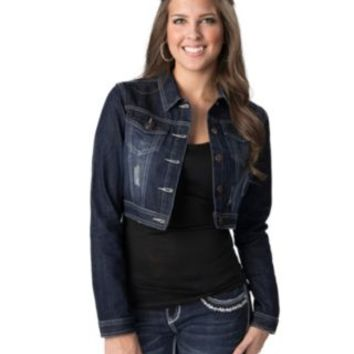 Boom Boom Jeans® Women's Dark Wash Long Sleeve Denim Crop Jacket