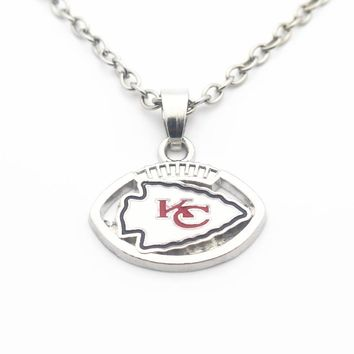 10pcs/lot Enamel Football Style Kansas City Chiefs Pendant Necklace 50cm Silver Chain Necklace For Women Necklace Jewelry