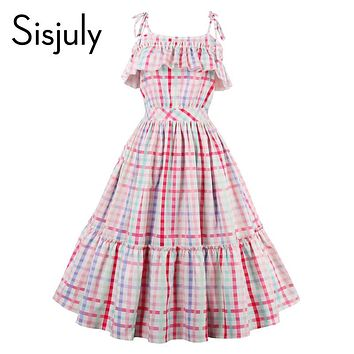 Sisjuly women vintage dress 1950s luxury plaid sleeveless retro ruffle collar dresses summer female multi color party dresses