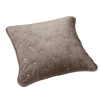 Tache Tan Beige Velvety Dreams Luxury Velveteen Plush Diamond Tufted Cushion Cover 2 Pieces (JHW-853B-CC)