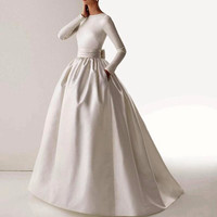2017 Vintage Elegant Boat Neck Long Sleeve Sash Bow Pockets Gown Long White Muslim Wedding Dresses
