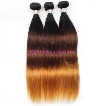 Mink Hair Straight Malaysian Hair 3 Bundles Ombre Color Straight Weave