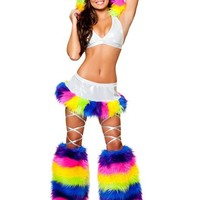 White and Rainbow Fur Trimmed Outfit : Cute Furry Rave Costumes