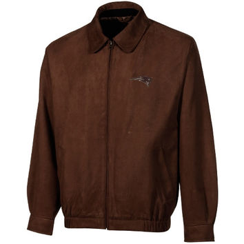 Cutter & Buck New England Patriots Microsuede City Bomber Jacket - Brown