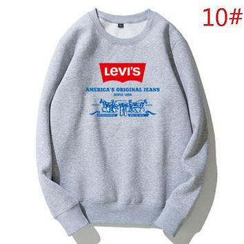 Levis Autumn And Winter Fashion New Bust Letter Pattern Print Women Men Long Sleeve Top Sweater Gray