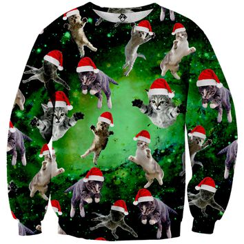 Galaxy Christmas Cats Tacky Sweater