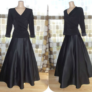 Vintage 90s Tadashi Shoji Black Ball Gown Ballet Bodice Full Sweep Formal Dress 10 M/L