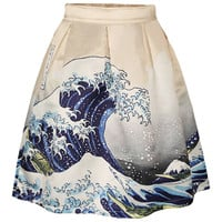 Multicolor Spindrift Printing Side Zipper Pleated Skirt