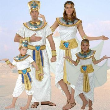 CREY6F Women Men Costume Egypt Queen Costumes Princess Royal Golden Masquerade theme Party adult halloween cosplay kids child clothing