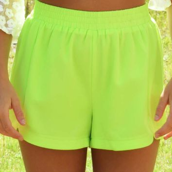 Catching Your Eye Shorts: Highlighter Yellow