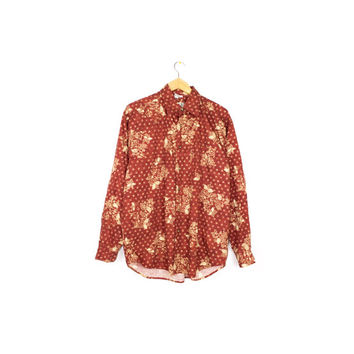 TERRITORY AHEAD batik shirt - vintage 90s - long sleeve button down - brick red - floral print pattern - mens large