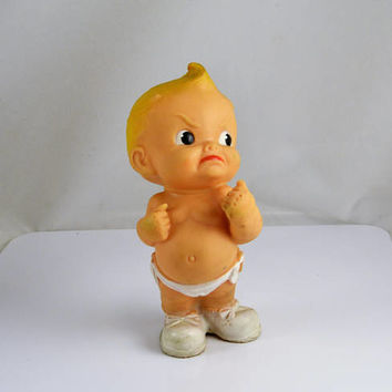 Fighting Mad Kewpie Baby Squeaker Toy - Vintage Mid Century Rubber Doll - Angry Baby - Put em up