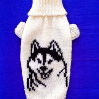 Winter Warm Sweater With Husky Pattern For Small  Dog. Handmade Knit Clothes For Pets. Dress For Pet. Sweater For Pet. Dog Clothing. Size M