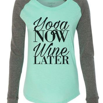 "Womens ""Yoga Now Wine Later"" Long Sleeve Elbow Patch Contrast Shirt"