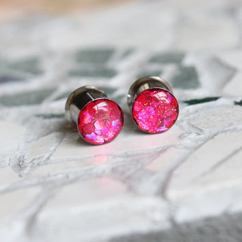 Pink Glitter Plugs, Glitter Gauges, Sparkly Plugs, Hot Pink Plugs, Summer Plugs - sizes 0g, 00g, 7/16, 1/2, 9/16, 5/8, 3/4, 7/8, 1""