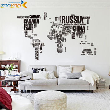 creative letters world map wall stikers home decorations office living room zooyoo95ab adesivo de parede pvc decals mural art