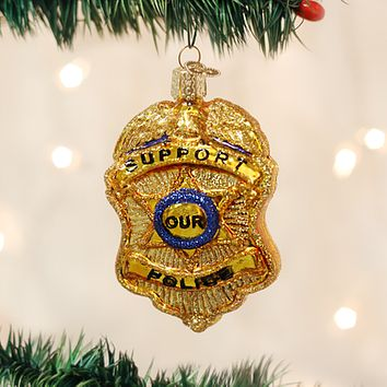 Old World Christmas Handcrafted Blown Glass Ornament -- Police Badge