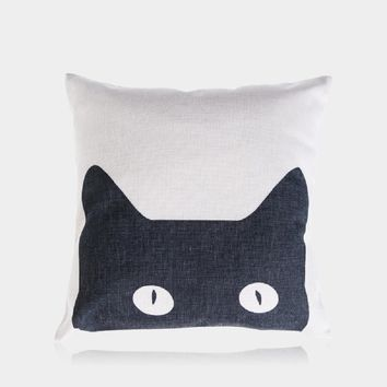 "Black Cat Pillow Cover 18"" x 18"""