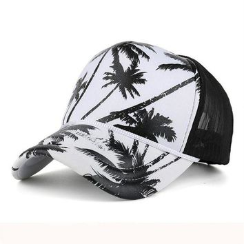 DCCKWJ7 Women Men Coconut Tree Printing Baseball Cap Snapback Hip Hop Flat Hat girl Net Baseball Cap Adjustable Bone feminino