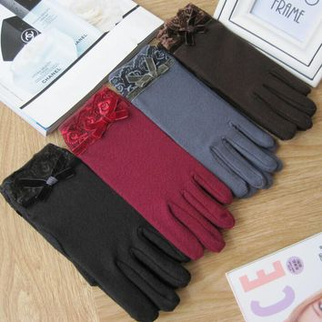 Autumn and winter women's thermal elastic lace bow gloves solid color warm driving gloves