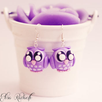 LILY purple owl earrings - polymer clay