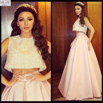 New Arrival Dubai Kaftan 2016 MGS A-line Taffeta Beaded Sequined Two-Pieces Evening Dresses Vestido De Festa Charming Prom Gown