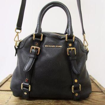 MICHAEL KORS Black Leather Gold Buckle Bedford Satchel Bowler Bag Purse *TEARING