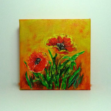 Wildflowers textured acrylic painting on canvas
