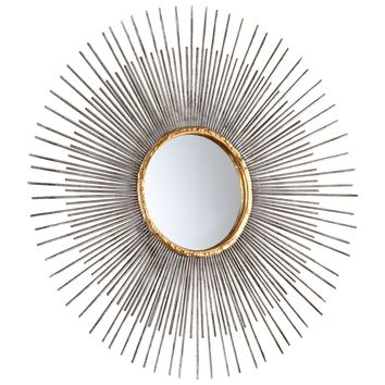 Small Pixley Starburst Round Framed Wall Mirror by Cyan Design