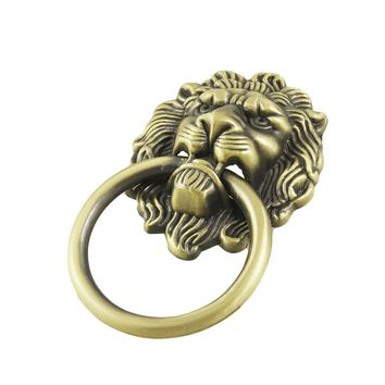 EWS Antique Style Bronze Lion Head Design Drawer Ring Pull Handle Knob