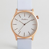 Bratleboro Tayrona Rose Gold Lilac Leather Watch In Lilac 38mm at asos.com
