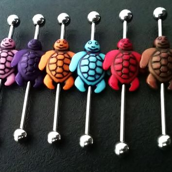 Sale.......cute little sea turtles designed on both sides Industrial barbell 14 gauge stainless steel earrings assorted colors