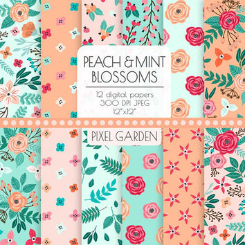 Peach & Mint Floral Digital Paper. Pink, Teal, Coral, Aqua, Mint Peony, Rose Cottage Chic Patterns. Hand Drawn Flower, Blossom Burgundija.
