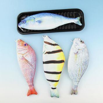 1PC New Kawaii Fish Pencils Case Cute Simulation Cloth Plush Fish Pen Box Large Capacity School Supplies Stationery