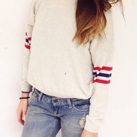 White Long Sleeve Striped Sweater