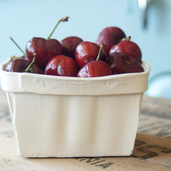 Porcelain Cherry Basket- Small