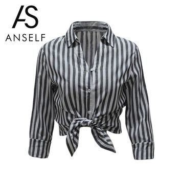 New Striped Print Summer Women Blouse Turn Down Collar Long Sleeve Work Shirts Women Office Tops Blouse For Business